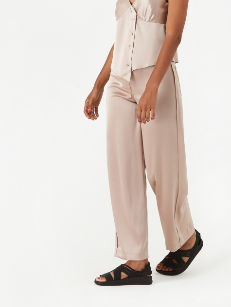 Marfa Wide Leg Satin Trouser - Himalayan Salt