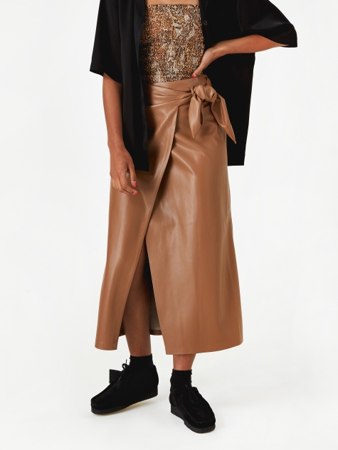Amas Vegan Leather Skirt - Brown