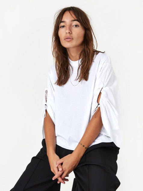ARCHIVE Silket Jersey Shirring Sleeve Top - White