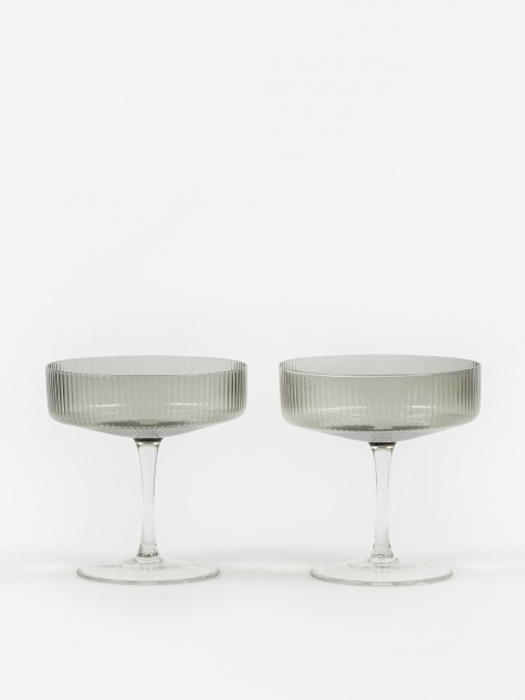 Ripple Champagne Saucer - Set of 2 - Smoke