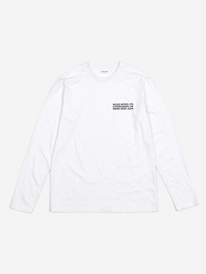 Wood Wood Peter Longsleeve T-Shirt - Bright White (Image 1)