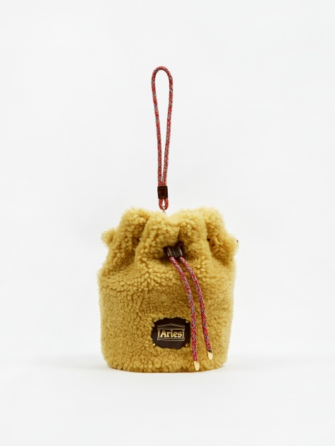 Mini Drawstring Sheepskin Bag - Ochre