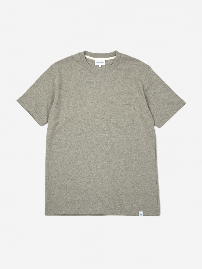 Norse Projects Johannes Pocket Shortsleeve T-Shirt - Light Grey (Image 1)