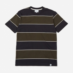 Norse Projects Johannes 3 Stripe Shortsleeve T-Shirt - Beech Gre