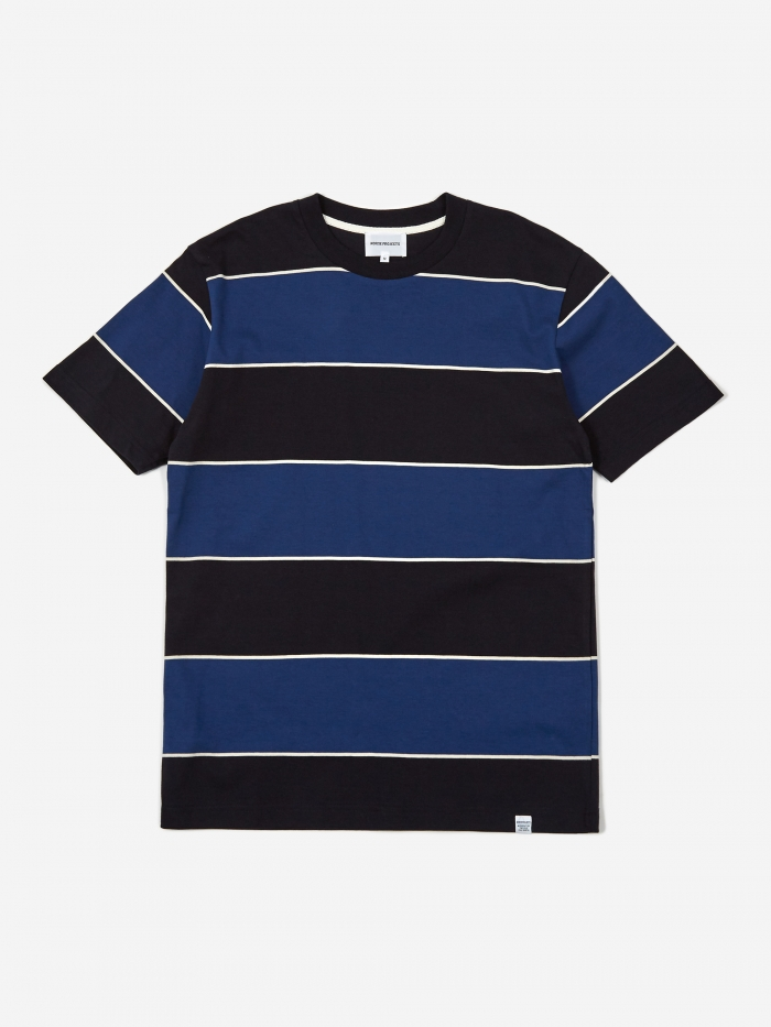 Norse Projects Johannes 3 Stripe Shortsleeve T-Shirt - Twilight (Image 1)