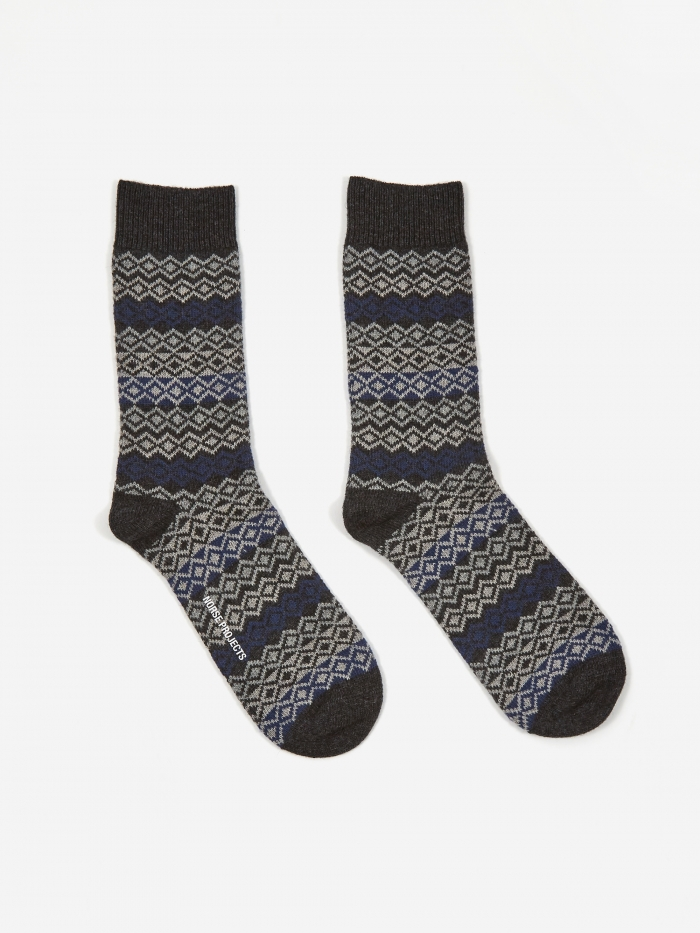 Norse Projects Bjarki Fairisle Socks - Charcoal Melange (Image 1)