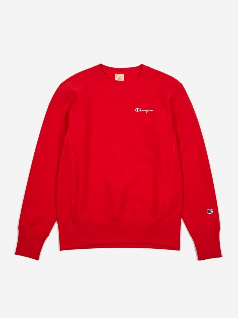 Reverse Weave Small Script Crewneck Sweatshirt - Red