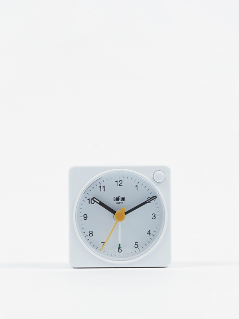 Classic Travel Analogue Alarm Clock - White
