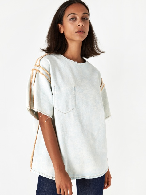 Denim Shortsleeve Top - Super Bleach