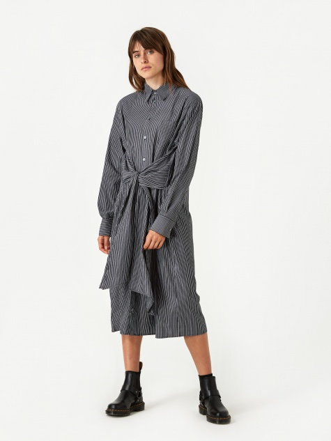 Shirt Dress - Black/White Stripe