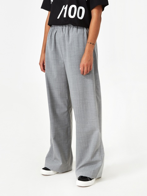 Wide Leg Trouser - Grey Melange