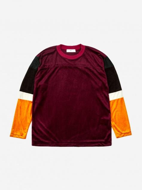 Velour Longsleeve T-Shirt - Dark Red