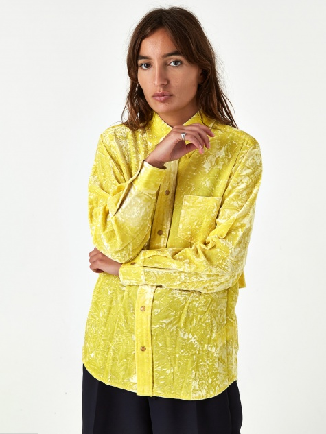 PULLA Crush Velvet Shirt - Yellow