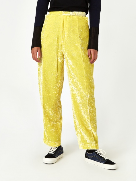 PULLA Crush Velvet Pant - Yellow