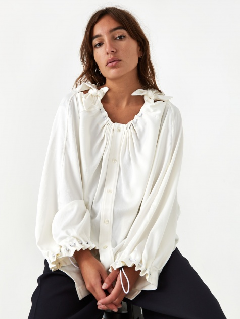 PULLA Heavy Satin Blouse - White