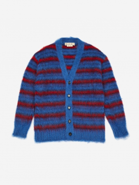 Riga Mohair Cardigan - Blue/Navy/Red