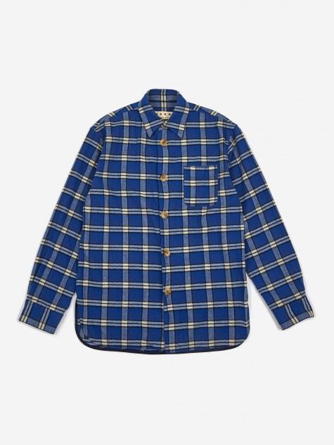 Brushed Cotton Check Shirt - Blue