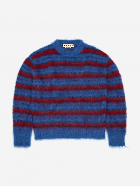 Riga Mohair Knit Jumper - Blue/Navy/Red