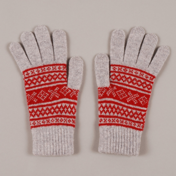 YMC Fairsle Gloves - Red/Grey (Image 1)