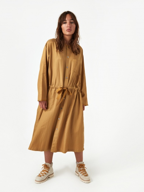 Cotton Rayon Twill Dress - Camel