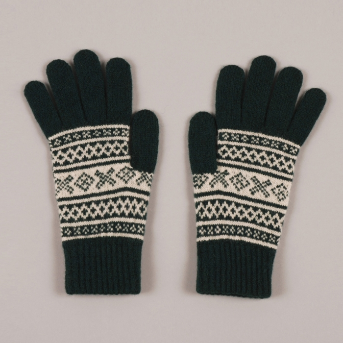 YMC Fairsle Gloves - Green (Image 1)