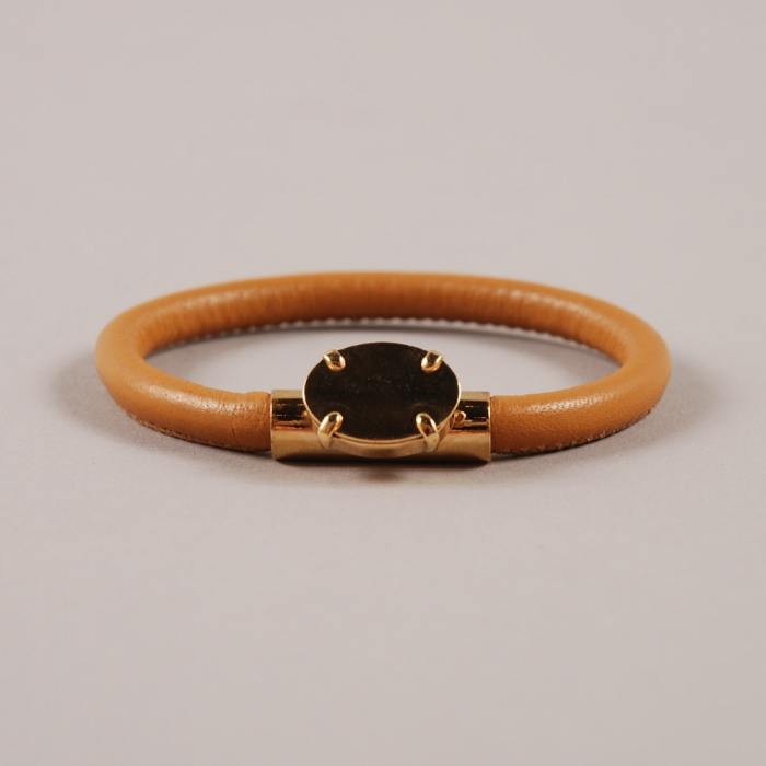 Sabrina Dehoff Leather Bangle Oval - Tan (Image 1)