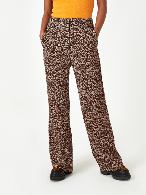 Kisa Pleat Trouser - Graphic Animal Latte