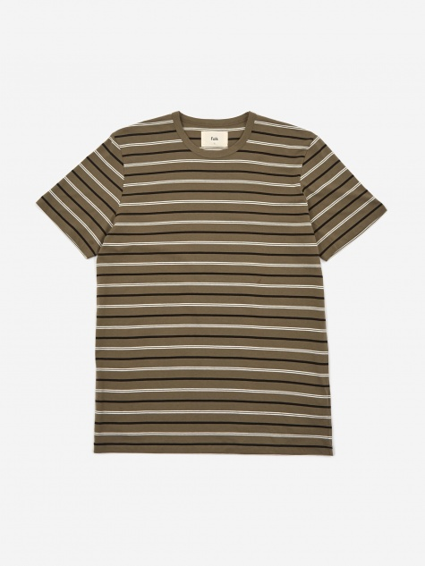 Horizon Stripe T-Shirt - Soft Green/Black/Ecru