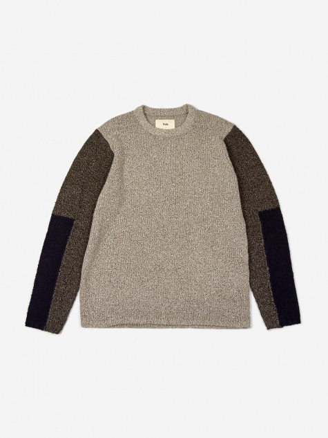 Mixed Textured Crewneck Jumper - Stone Black Multi