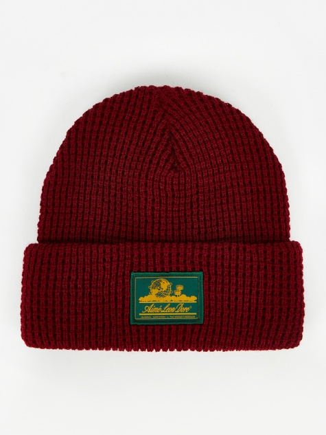 Ald Waffle Knit Beanie Hat - Red Wine