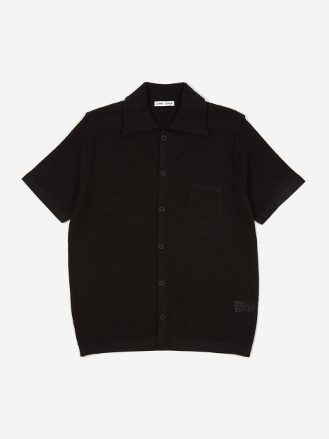 Wes Knitted Shortsleeve Shirt - Black