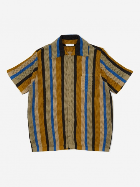 Wes Knitted Shortsleeve Shirt - Multi Stripe