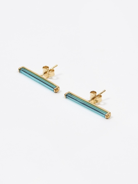 Vintage Glass Earrings - Neon Blue