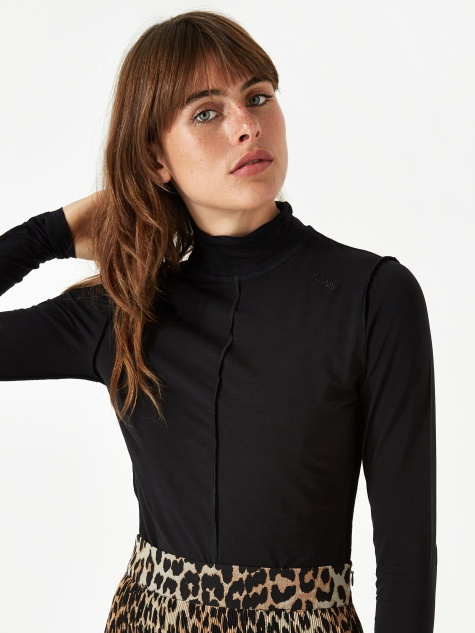 Light Stretch Jersey Longsleeve Top - Black