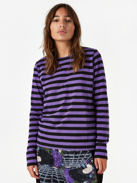 Striped Cotton Jersey Longsleeve Top - Deep Lavender