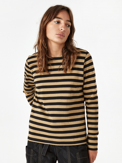 Striped Cotton Jersey Longsleeve Top - Tigers Eye