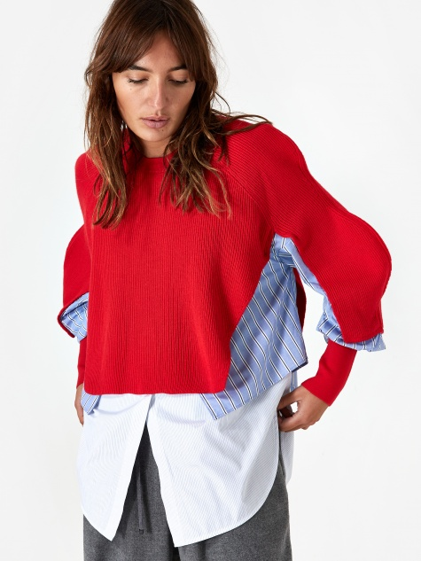 Knitted Wave Sleeve Top - Red
