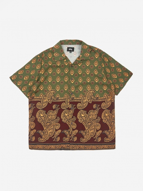 Block Paisley Shirt - Burgundy