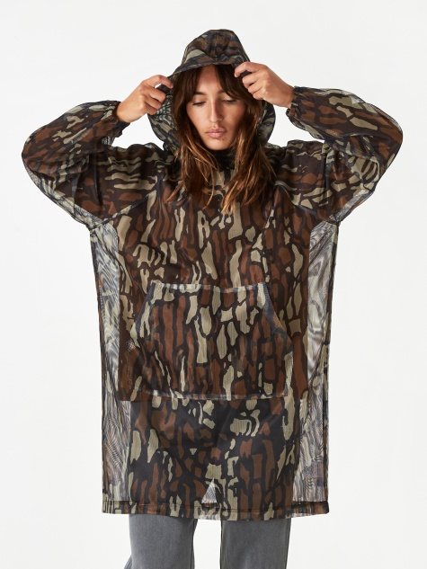 Tree Bark Camo Mesh Pullover Jacket - Brown