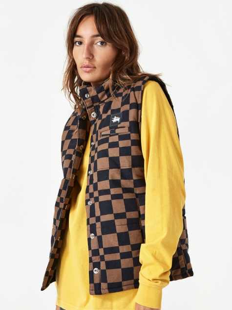 Sabi Checker Puff Vest - Brown