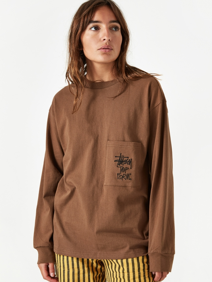 Stussy Sunset Longsleeve Pocket T-Shirt - Brown (Image 1)