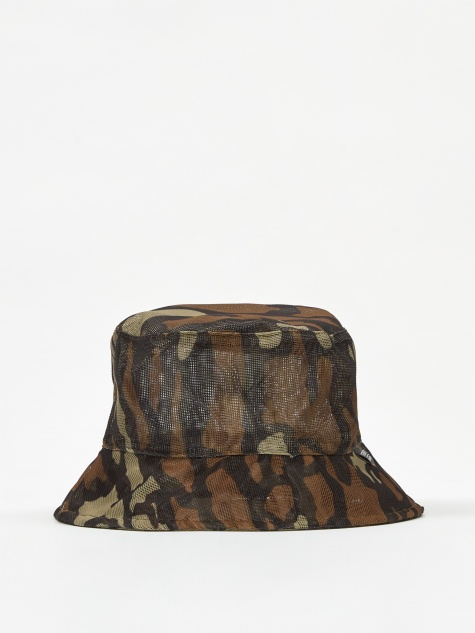 Tree Bark Mesh Bucket Hat - Brown
