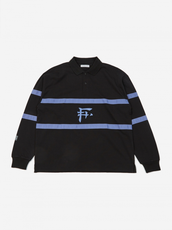 Flagstuff Longsleeve Polo Shirt - Black (Image 1)