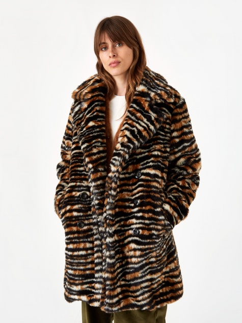 Fur Pea Coat - Tiger