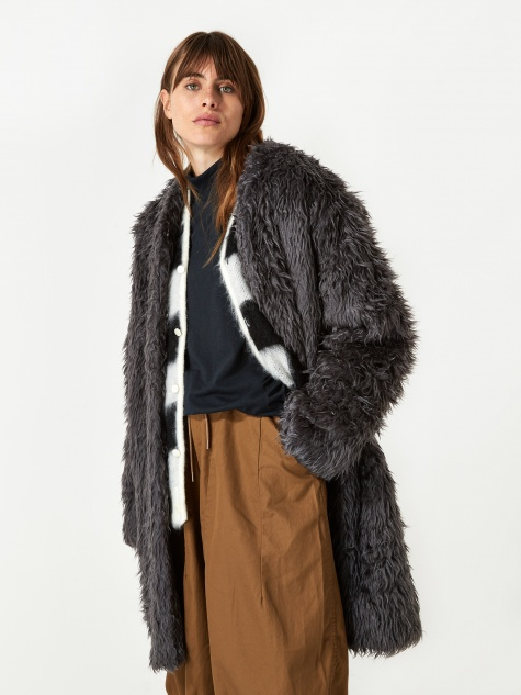 V Neck Fur Coat - Grey