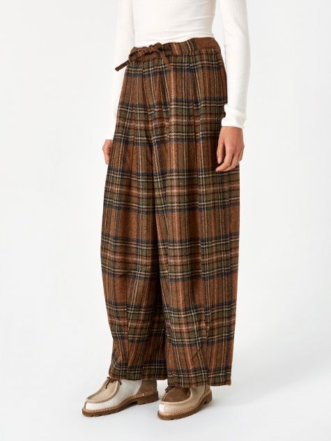 Plaid Tweed Darts Military Pant - Brown