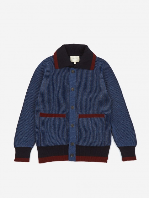 Knitted Shirt Jacket - Blue/Navy