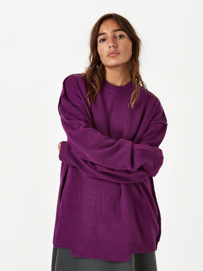 Stand Alone Oversized Knit Jumper - Purple (Image 1)