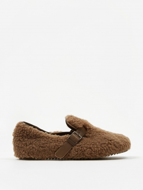 Faux Fur Slip On Shoe - Brown Fur
