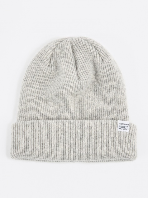 Norse Beanie Hat - Light Grey Melange